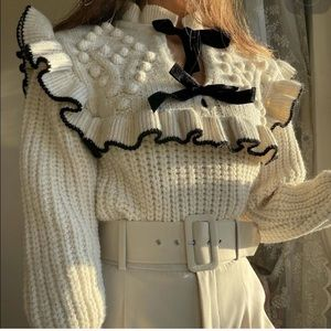 NWT ZARA Bow Knit Sweater M Blogger's Favorite